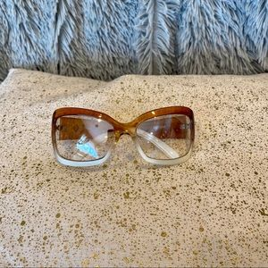 Oversized white and brown sunglasses